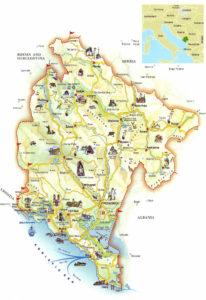 Туристическая карта Черногории с достопримечательностями