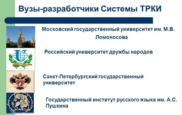 Вузы-разработчики системы ТРКИ