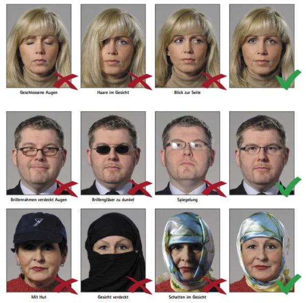 Чтобы Центр персонализации, куда будут отправляться данные, смог «считать» биометрические фотографии, глаза, брови, нос, подбородок человека на фото должны находиться на определенном уровне, взгляд должен быть серьезным
