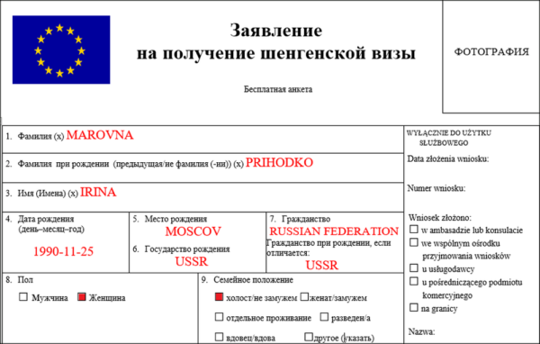 Заявление на получение шенгенской визы
