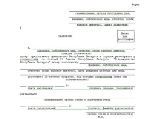 Заявление о предоставлении гражданства опекаемому (подопечному)