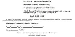 Еще один пример заявления на выход из гражданства РУ