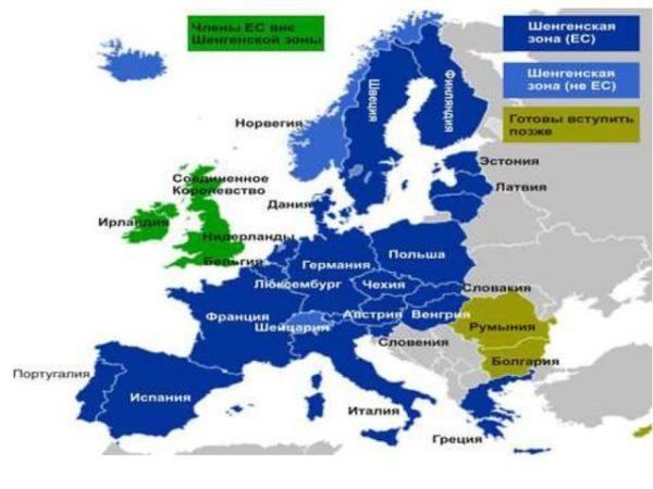 Карта Шенгенской зоны.