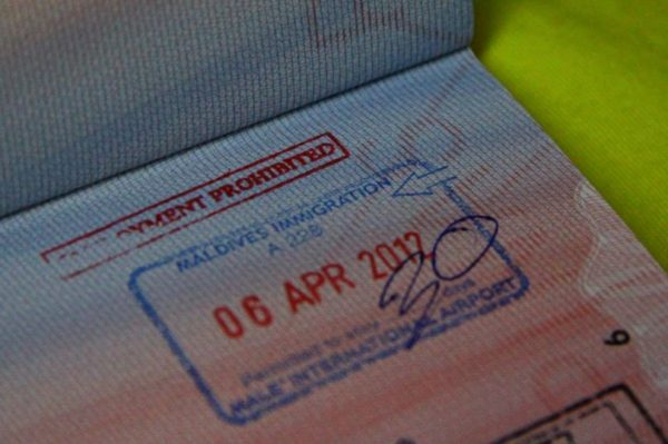 Пограничный штамп Мальдивских островов