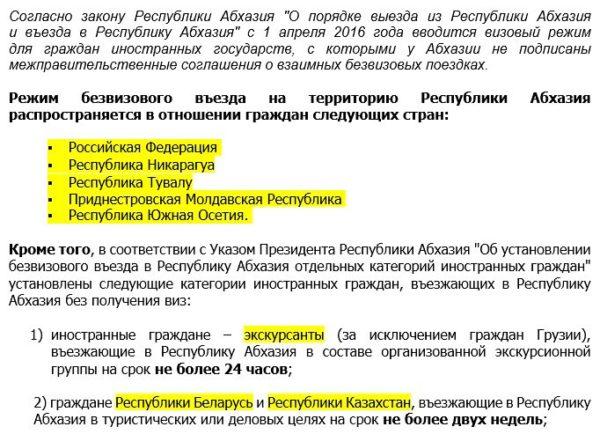 Порядок въезда и выезда в Республику Абхазия