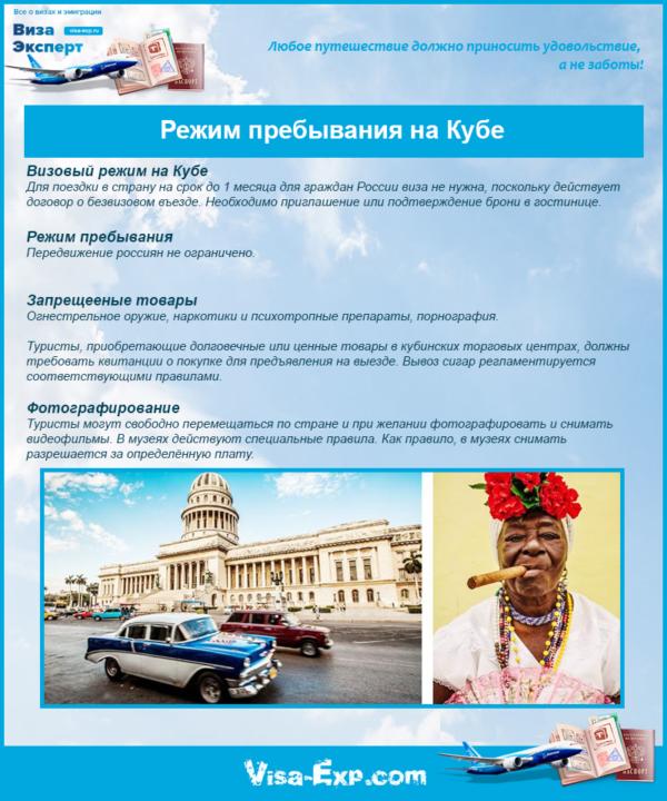 Режим пребывания на Кубе