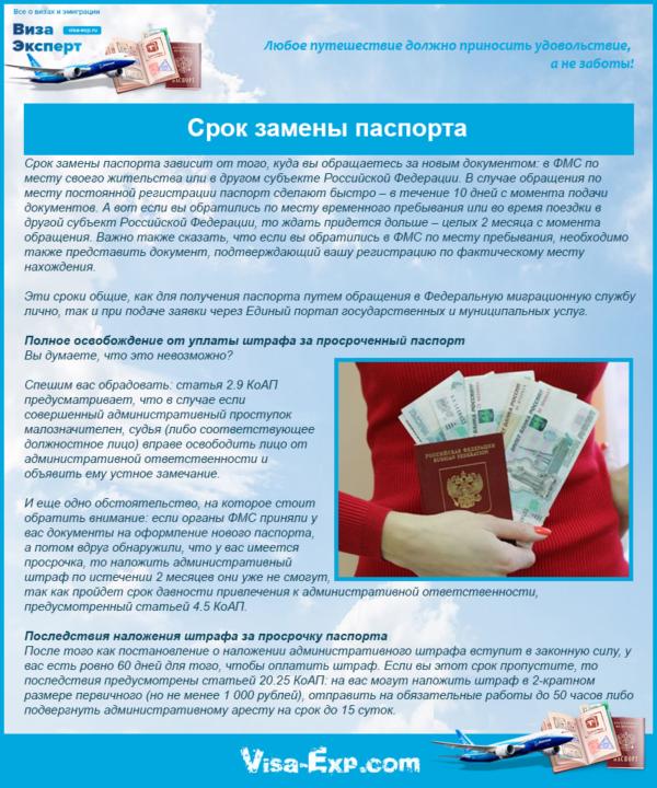 Срок замены паспорта