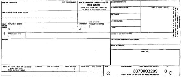Типовая форма пассажирского билета и багажной квитанции, применяемая для ручного оформления перевозки на внутренних и международных авиалиниях