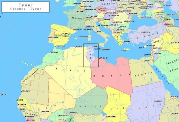 Тунис на карте мира