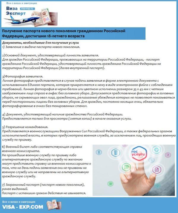 Получение паспорта нового поколения гражданином Российской Федерации, достигшим 18-летнего возраста