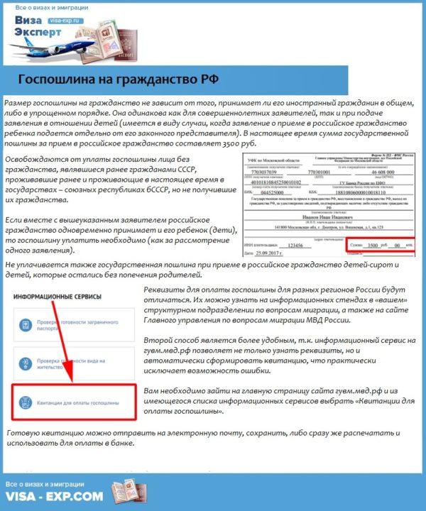 Госпошлина на гражданство РФ