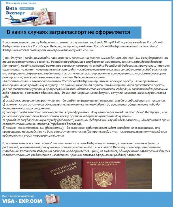 В каких случаях загранпаспорт не оформляется
