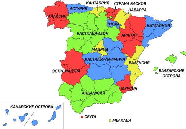 Карта муниципалитетов Испании