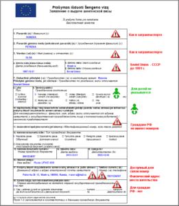 Первая страница анкеты для визы в Литву