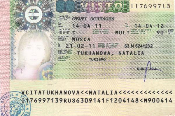 Пример готовой визы в Италию