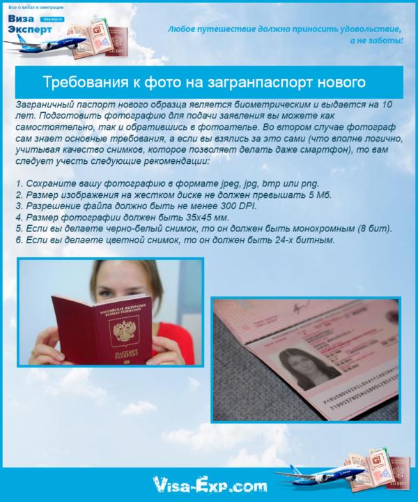Требования к фото на загранпаспорт нового образца