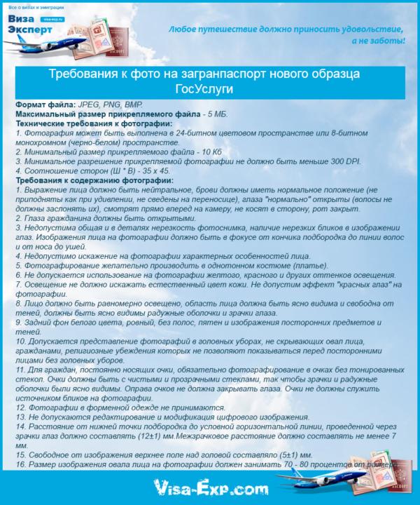 Требования к фото на загранпаспорт нового образца ГосУслуги