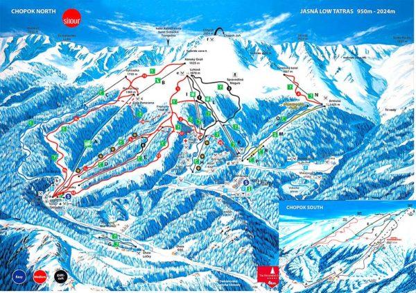 Карта горнолыжных спусков курорта Ясна