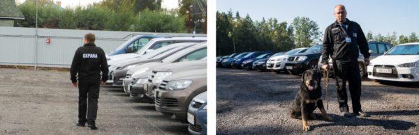 Охрана ведет круглосуточное наблюдение за паркингом