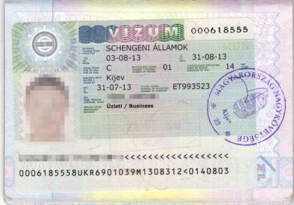 Пример визы категории С