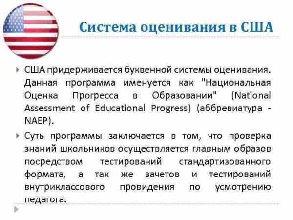 Система оценивания в США придерживается буквенной системы оценивания