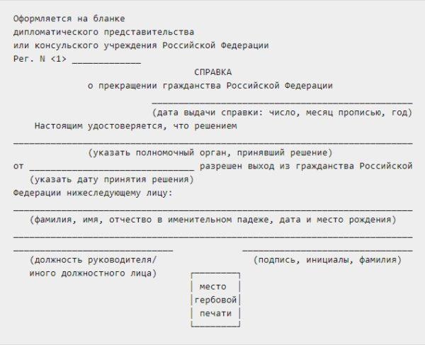 Справка о прекращении гражданства России