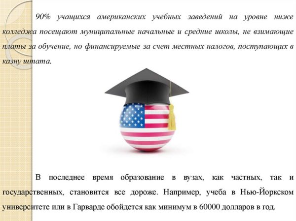 Стоимость американского обучения