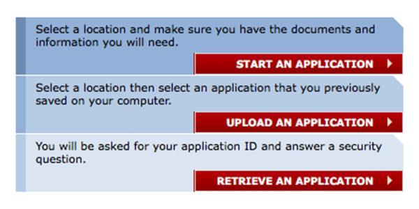 Затем выбирайте Start an Application, если заполняете заявление впервые. Upload an Application, если у вас есть сохранённая копия заявления и вы обращаетесь к сайту повторно, чтобы добавить данные. Или Retrieve an Application, чтобы восстановить ранее сохранё