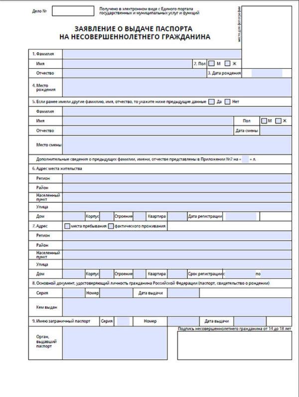 Анкета для оформления загранпаспорта для несовершеннолетнего