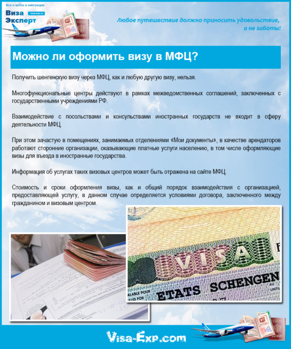 Можно ли оформить визу в МФЦ