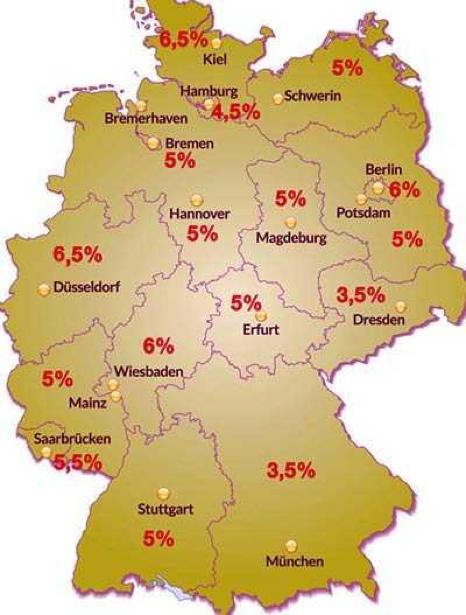 Налог на недвижимость в Германии в разных землях
