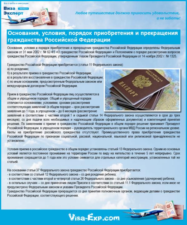 Основания, условия, порядок приобретения и прекращения гражданства Российской Федерации
