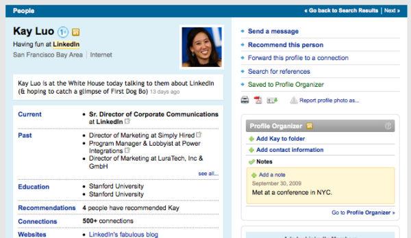 Пример профайла в LinkedIn