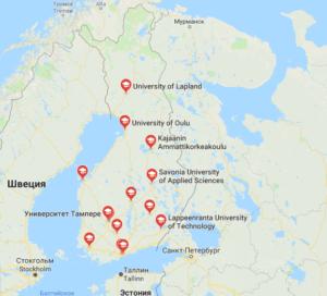 Университеты Финляндии на карте