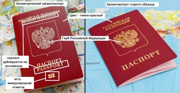 Внешний вид загранпаспортов старого и нового образца