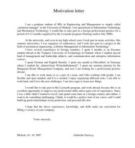 Пример мотивационного письма (на английском)